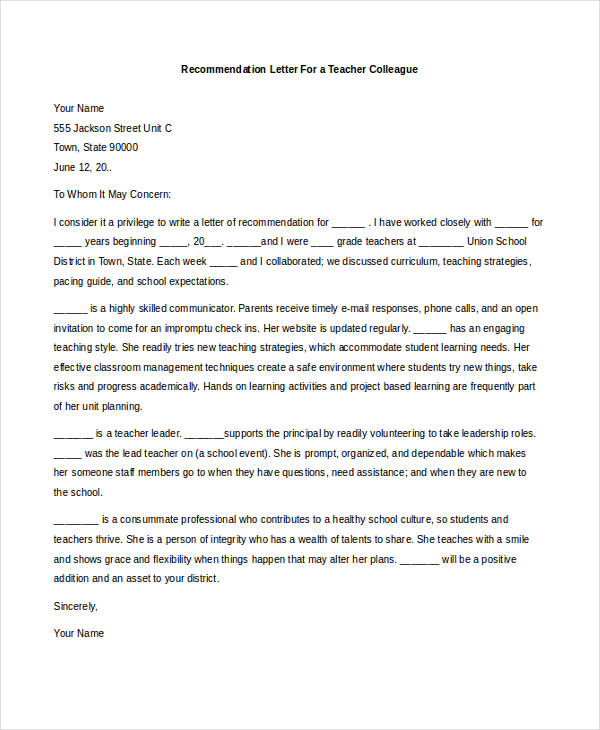 recommendation letter for student from teacher template - letters of recommendation for teachers template business