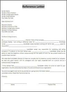 letters of recommendation template reference letter template