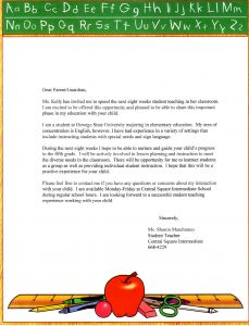 letters of recommendations for student teachers parent letter