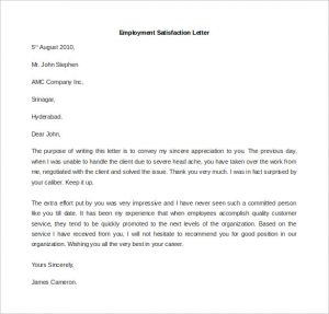 letters to landlords employment satisfaction letter template free word format