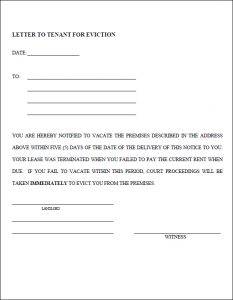 letters to landlords eviction notice template