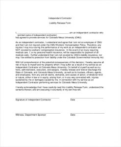 liability release form contractor liability waiver form