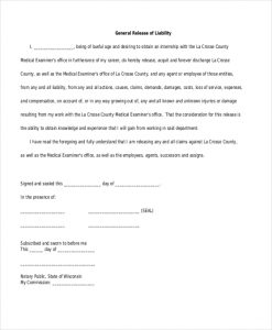 liability release form general release of liability form