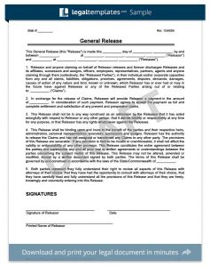 liability release form general release of liability template