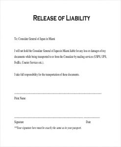 liability release form release of liability form