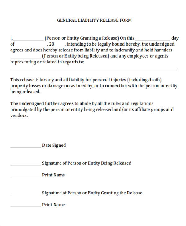 Exceptional Liability Release Form Regard To General Liability Waiver Form