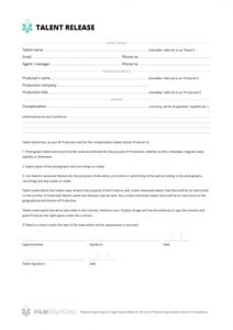 liability waiver form pdf talent release