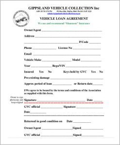 Loan agreement form template business for Employee vehicle use agreement template