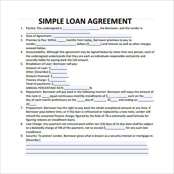 Loan Agreement Form  Loan Form Sample