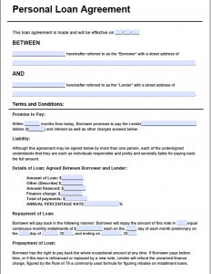 loan agreement form personal loan agreement form
