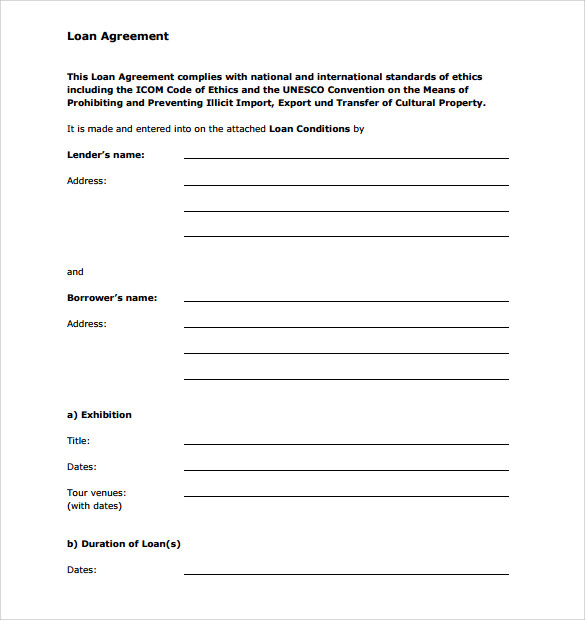 Loan Agreement Form  Loan Agreement Form Free