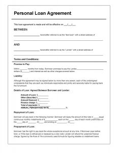 loan agreement form personal loan agreement template