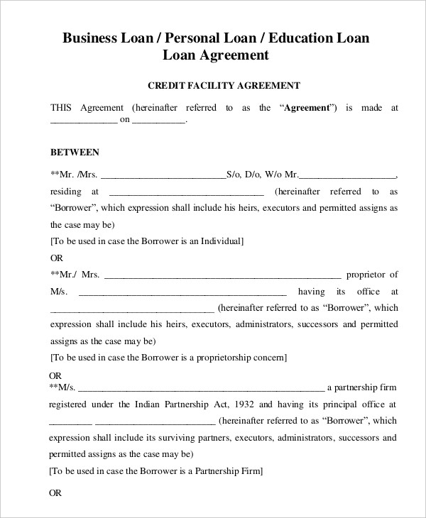 Loan Agreement Template | Template Business