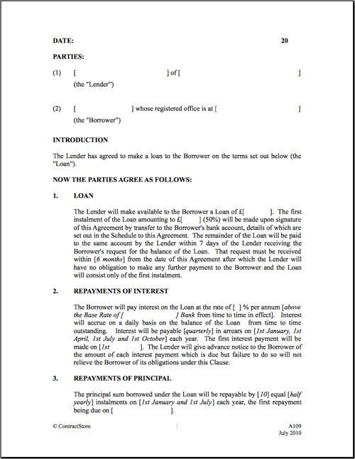 Loan Agreement Template  Printable Loan Agreement