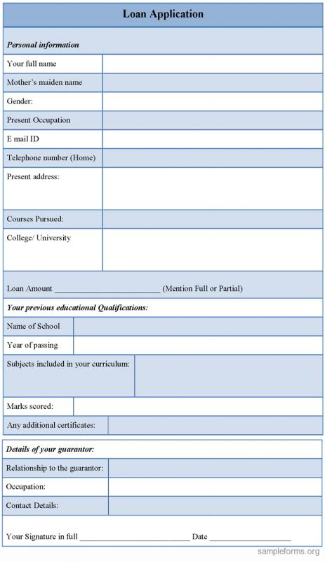 loan application format