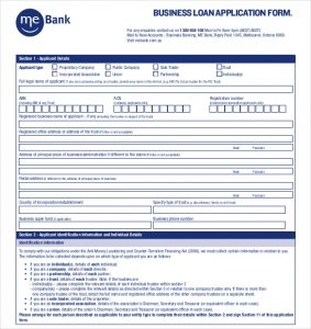 loan application format mebank business loan application form pdf format free download