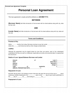 Loan Contract Template Template Loan Agreement Dbfnql  Personal Loan Contract Agreement