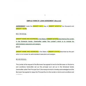 loan document template loan agreement secured