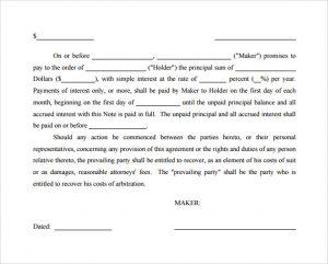 loan promissory note promissory note simple interest template