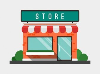 logo template psd flat store facade with awning