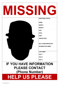 lost cat poster template missing person poster