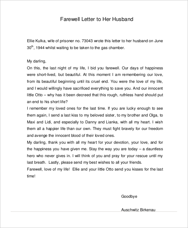 goodbye letter to husband sample Parlobuenacocinaco