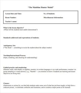 madeline hunter lesson plan example sample madeline hunter lesson plan format