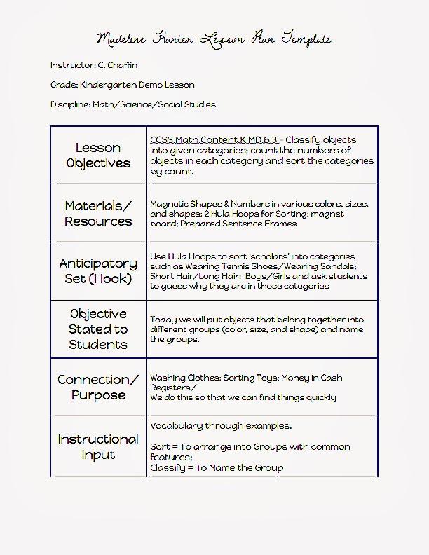 Sample Kindergarten Lesson Plan Template Kordurorddiner