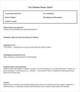 madeline hunter lesson plan template sample madeline hunter lesson plan format