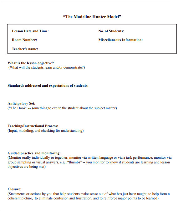Madeline Hunter Lesson Plan Blank Template Roho4senses