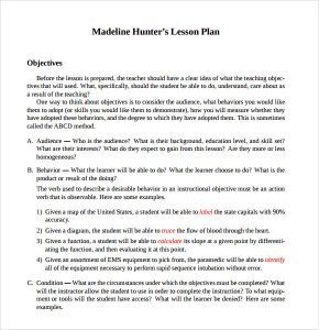 madeline hunter lesson plan template sample madeline hunter lesson plan free