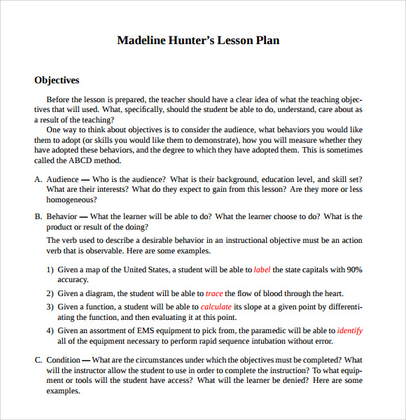 Madeline Hunter Lesson Plan Template  Template Business