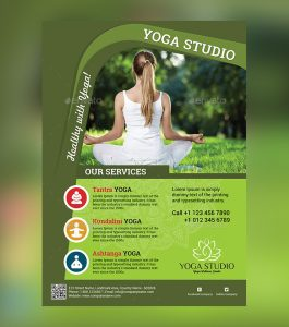 magazine advertisement template beautiful yoga psd flyer