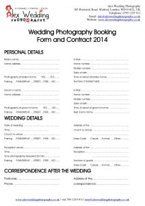 makeup artist contract wedding photography booking form and contract