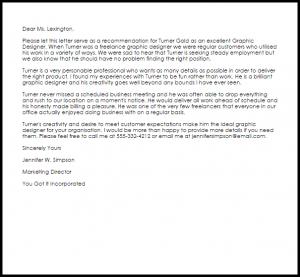 marketing letter sample graphic designer recommendation letter
