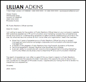 marketing letter sample public relations officer