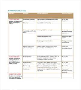 marketing plan template free international marketing plan sample