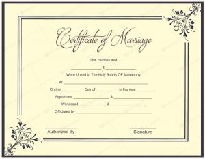 marriage certificate sample certificate templates marriage certificate template word