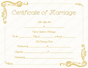 marriage certificate template blank standard marriage certificate template