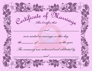 marriage certificate template marriage certificate purple border