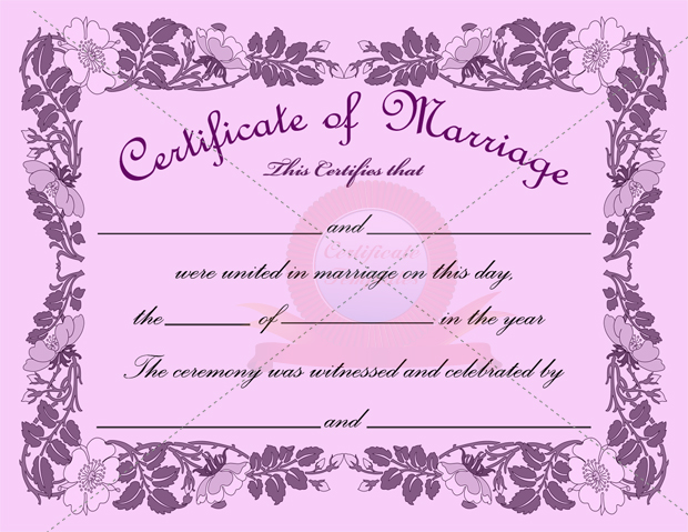Marriage Certificate Template  Template Business
