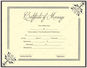 marriage certificate template marriage certificate template word