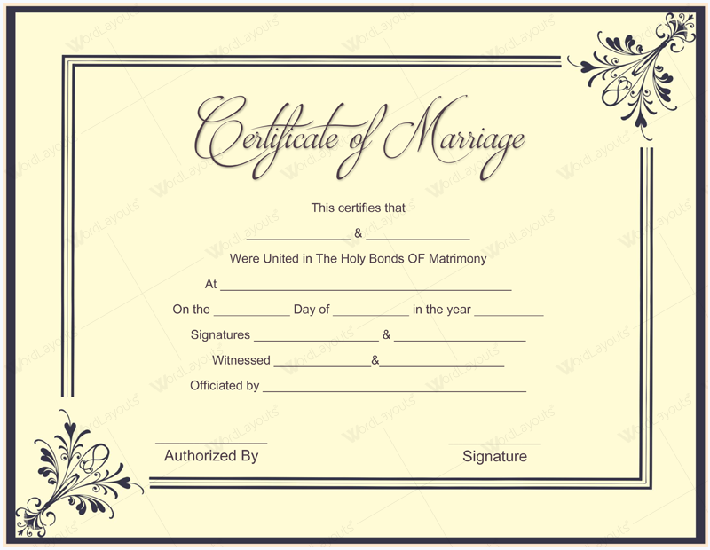Marriage certificate template template business for Fake birth certificate template free download