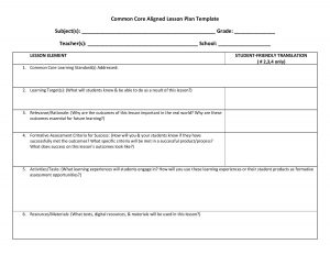 math lesson plan template lesson plan template ccss