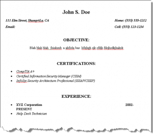 mba resume sample page