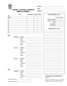meal plan template pdf boy scout menu planning worksheet
