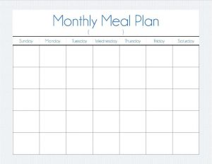 meal plan template word monthly menu planner
