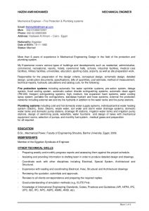 mechanical engineering internship resume mechanical engineer plumbing and fire fighting