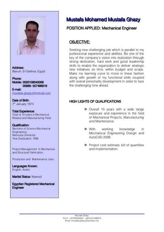 Mechanical Engineering Resumes  Template Business