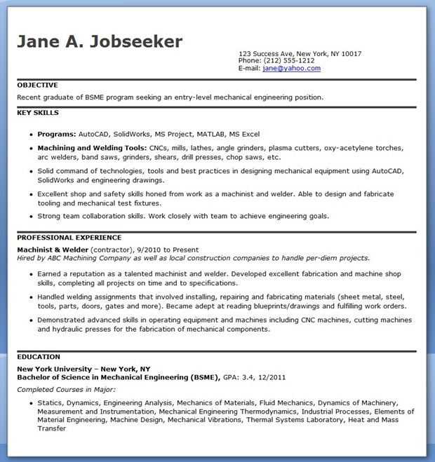 mechanical engineering resumes - Mechanical Engineering Resume Templates